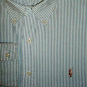 POLO Classic Fit Aqua Blue & White Striped Shirt